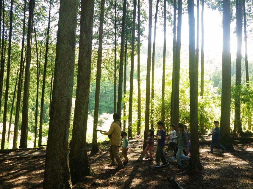 みんなで楽器で森を歩く。