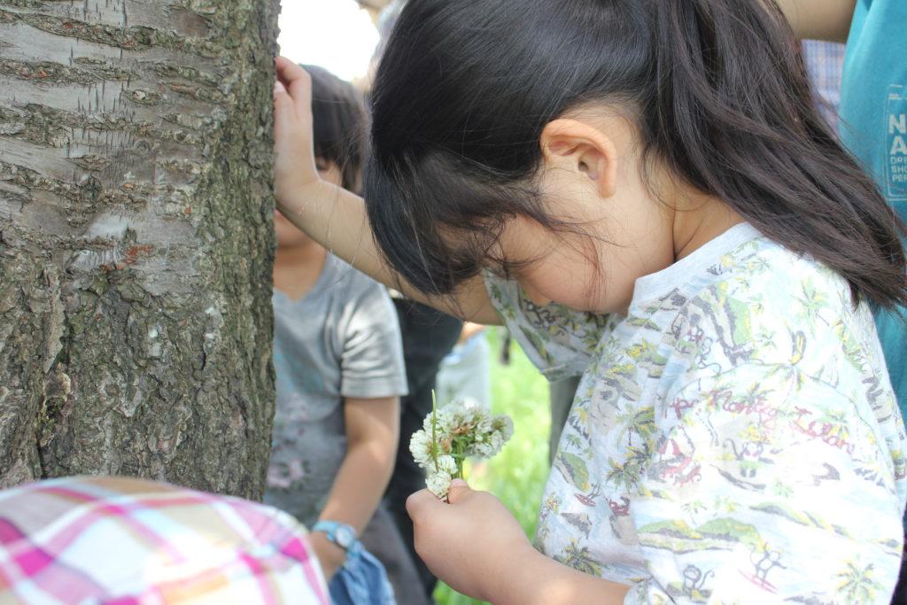 木に触れる2