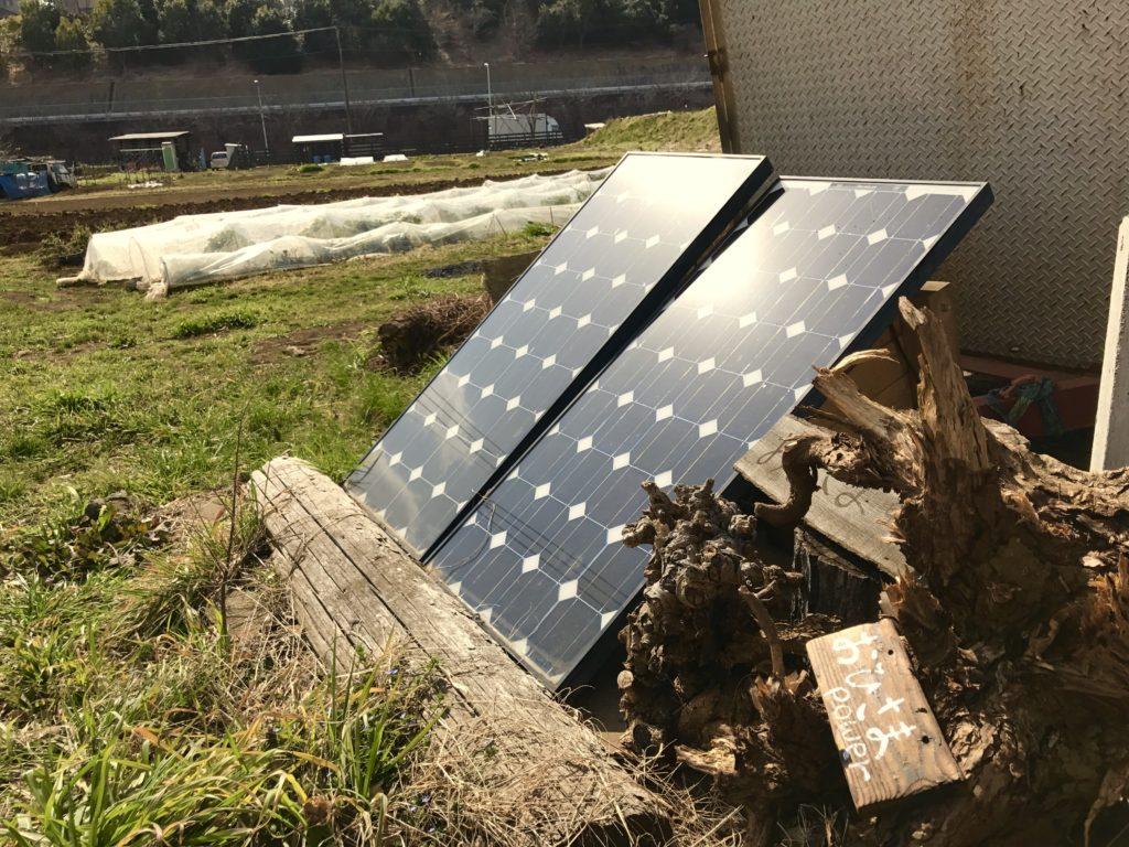 太陽光発電パネル。
